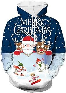 OPAKY Sudadera con Capucha de Mujer Chaqueta Su/éter Abrigo Jersey Mujer Impresi/ón Sports Cuello Redondo Sudadera con Estampado de Mu/ñeco de Nieve de Bolsillo Grande de Navidad Sudadera con Capucha