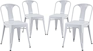 Modern Contemporary Metal Dining Side Chair Set of Four White (Outdoor or Indoor)
