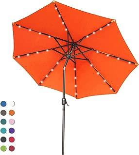 ABCCANOPY Patio Umbrella Ourdoor Solar Umbrella LED Umbrellas with 32LED Lights, Tilt and Crank Table Umbrellas for Garden, Deck, Backyard and Pool,12+Colors, (Orange)