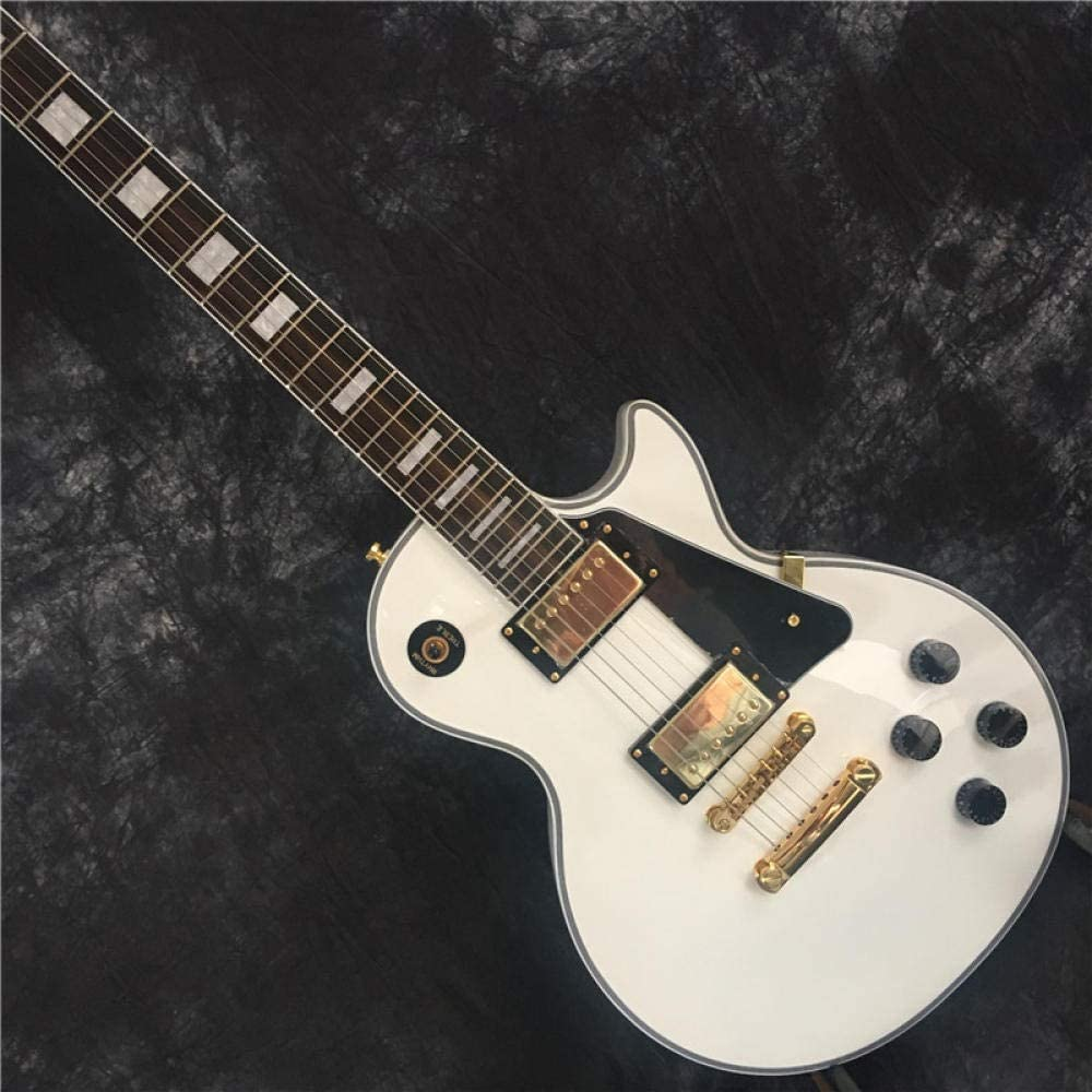 LYNLYN Guitarras Diapasón De Secoya, Guitarra Eléctrica Hardware De Oro Blanco Acústico Acero Guitarras Guitarra eléctrica (Color : Guitar, Size : 39 Inches)