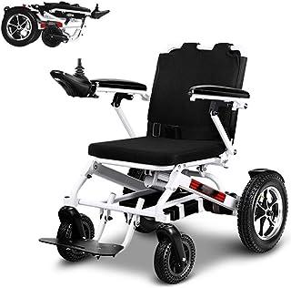 AOLI Sillas de ruedas eléctricas ligeras, plegables e inteligentes, silla de ruedas duradera, segura y fácil de conducir para mayor comodidad, soporte de 220 lb/blanco perla