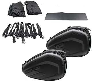 Universal Expandable 58L Motorcycle Saddlebags Rear Seat Luggage Bag Large Capacity Left & Right