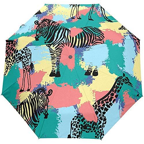 Bunter gestreifter Zebra-Giraffen-Tropische Blumen Forest Auto Close Sun Rain Umbrella