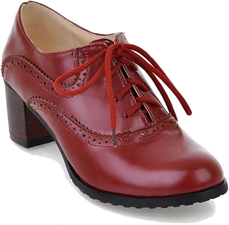Elsa Wilcox Womens Vintage Handmade Platform shoes Block Heel Oxfords Lace-up Pointd Toe Dress Pumps Loafers