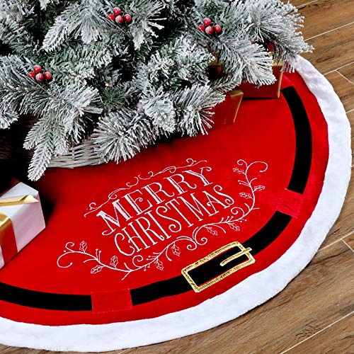 POPUTOY Christmas Tree Skirt, 48 Inch Faux Velvet Trim X-mas Tree Skirt Santa Suit Pattern Christmas Tree Mat with Plush Mercerized Velvet for Christmas Holiday Decorations Indoor Outdoor (Red)