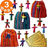 Worry Dolls in a Bag from Guatemala - Super Cute Little Worry Dolls - Worry Doll - People - Mayan - Trouble - Anxiety - Guatemala Dolls - (3 Bags)