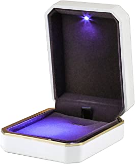 LED Jewelry Gift Box Case Elegant Velvet Necklace Pendant Box Bracelet Box with LED Light for Jewelry Display Wedding Engagment Valentine's Day Black Size:2.75