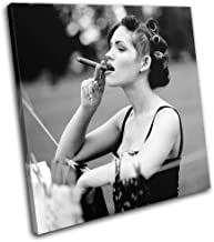 Bold Bloc Design - Woman Smoking Cigar Retro B & W Vintage 90x90cm Single Canvas Art Print Box Framed Picture Wall Hanging - Hand Made in The UK - Framed and Ready to Hang RC-0306(00B)-SG11-LO-D