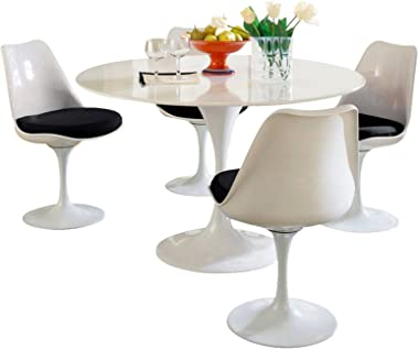 "Modway Lippa 48"" Mid-Century Modern 5-Piece Kitchen and Dining Set with Round Table and Four Dining Chairs with Upholstered Black Fabric Seat Cushion"
