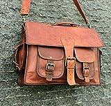 SKH 15' Vintage Leather Messenger Soft Leather Briefcase Satchel Leather Laptop Messenger Bag for Men and Women