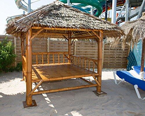 bamboo-lifestyle Bambus Sala mit Palmendach und großer Liegefläche 2m x 2m Pavillon zum entspannen I Gartenlounge I Gartenliege I Liegeinsel