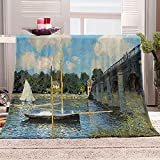Manta De Cama 3D Puente de barcas Manta Reversible Suave y Esponjosa De Lana Estampado Manta de Dormitorio para Cama Infantil Individual Matrimonio 150x200cm
