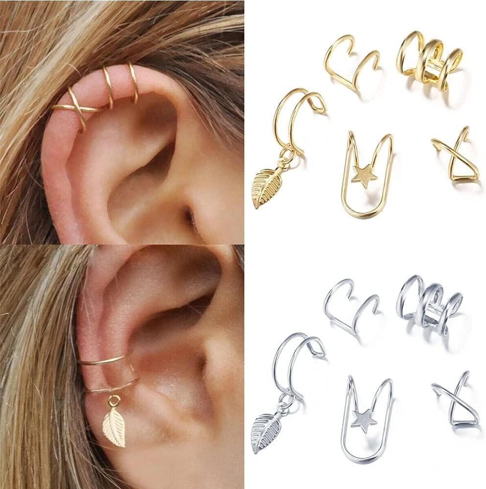 1-5pcs 2020 Fashion Gold Color Ear Cuffs Leaf Clip Earrings for Women Climbers No Piercing Fake Cartilage Earring Girls Gifts