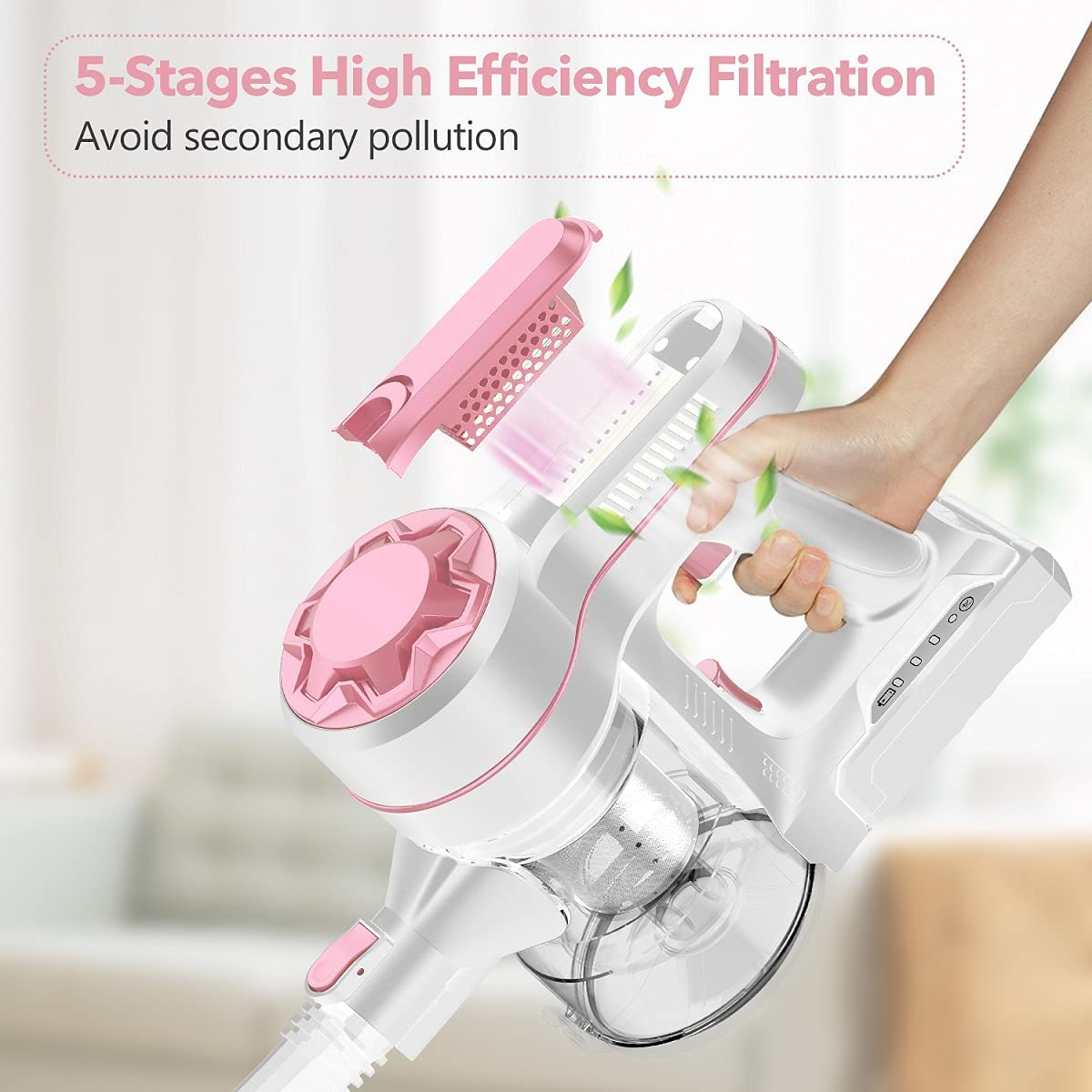Cordless Vacuum Cleaner with Newly Upgraded Roller Brush, Powerful Suction Stick Vacuum Portable Lightweight Handheld Vacuum for Home Hard Floor