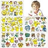 Autocollants de peau de tatouages temporaires Pokemon (plus de 100 modèles), anniversaire pour garçons filles enfants fournitures scolaires, accessoires de fête, cadeaux autocollants pour enfants…