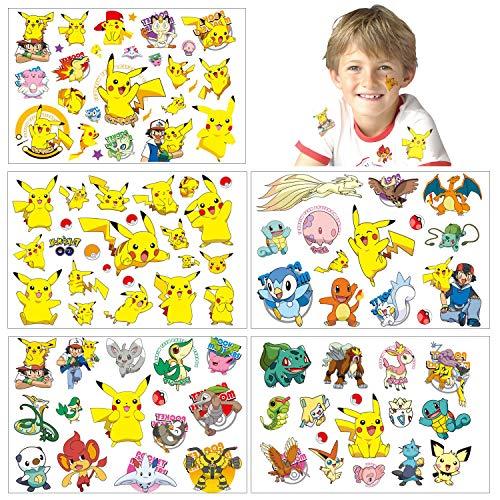 Pokemon Temporäre Tattoos Haut Aufkleber (100 + Designs), Geburtstag für Jungen Mädchen Kinder Schulmaterial, Partyzubehör Gefälligkeiten, Aufkleber Geschenk für Kinder…