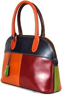 Borsa Donna A Mano In Pelle Con Lucchetto Colore Multicolor - Pelletteria Toscana Made In Italy - Linea Prestige