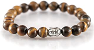 "Spiritual Elementz Reiki Charged Tiger Eye Gemstone Bracelet (7-8 mm) (21-24 Beads)""Stone of Protection & Harmony""."