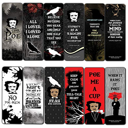 Creanoso Edgar Allan Poe Bookmarks Cards Series 2 (12-Pack) - Unique Teacher Stocking Stuffers Gifts for Boys, Girls, Kids, Teens, Students - Book Reading Clippers