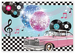 Funnytree 7x5ft 50s Retro Rock N Roll Diner Party Backdrop Car Sock Hop Dance Cosplay Prom Photography Background Classic 1950s Baby Adult Birthday Wedding Banner Cake Table Decoration Photo Booth