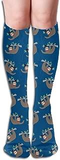 HAIRUIYD Knee High Socks Sloth Cute Animal Women's Work Stance Athletic Over Thigh High Stockings