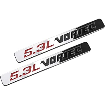 Red Black 2pcs 5.3L VORTEC Side Fender Door Badge Emblems 3D Decal 1500 2500hd Silverado