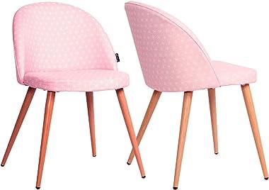 KAYELLES Chaise Vintage rétro Giza, Lot de 2 chaises Cocktail scandinave Salle à Manger, Cuisine (Rose étoiles)