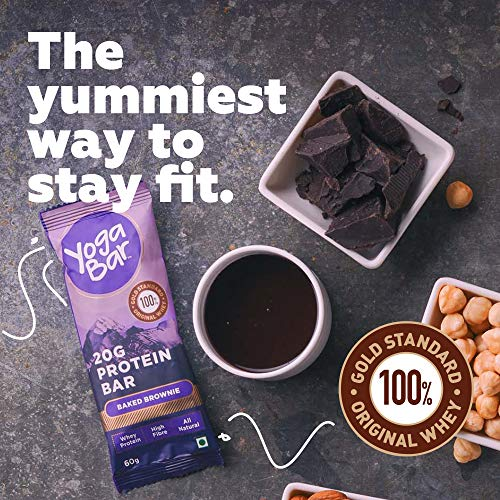 Yogabar 20G-Protein Bar Chocolate Brownie - Pack of 12, Keto Snacks with Pure Whey Protein, Omega 3s and 10G Fiber, Gluten Free Nutrition Bars for Gym, Bodybuilding and Healthy Diet