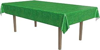 مفرش مائدة مستطيل الشكل من البلاستيك مطبوع عليه الأعشاب من بيستل للرياضات كرة القدم، مستلزمات حفلات عيد الفصح، 54 بوصة × 1...