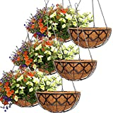 6pcs Hanging Planter Basket with Coco Coir Liner, Y&M 14' Metal Round Wire Plant Holder with Chain Porch Decor Flower Pots Hanger Garden Decoration Indoor Outdoor Watering Hanging Baskets