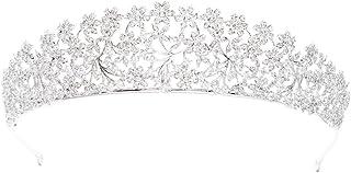 Tiara real de zirconia cúbica para boda, diadema de novia de flores para niña, joyería de cabeza de baile S16438