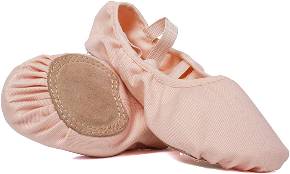HROYL Ballet Shoes for Toddler Girls/Kids Split-Sole Ballet Dance Shoes,Elastic Fabric,Ballet-TLB