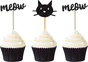 24 PCS Black Kitty Cat Meow Cupcake Toppers Party Cupcake Food Picks