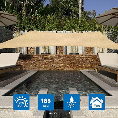 Innoo Tech Sonnensegel 2x3m Sonnenschutz sonnensegel wetterbeständig Segel Schatten PES UV-Schutz sonnensegel rechteckig für Garten Outdoor Terrasse Balkon ,Beige