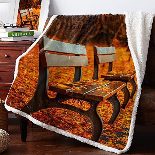 Sherpa Soft Throw Blanket Bench on the Garden Covered with Fallen Leaves - Fuzzy Luxurious Blanket for Bed Couch Sofa Outdoor Travel | Best Caring Gift for Children Adult Parent 50x60Inches