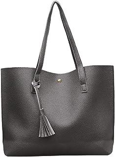 COAFIT Women Shoulder Tote Simple Tassel Large Capacity Casual Tote Top Handle Bag