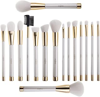 Anjou Makeup Brush Set, 16pcs Premium Cosmetic Brushes for Foundation Blending Blush Concealer Eye Shadow, Cruelty-Free Synthetic Fiber Bristles, PU Leather Roll Clutch Included, White and Gold Design