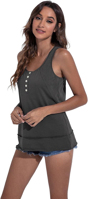 ManxiVoo Women's O Neck Tank Top Sleeveless Blouse Plain T Shirts Button Down Front Summer Tops Blouse