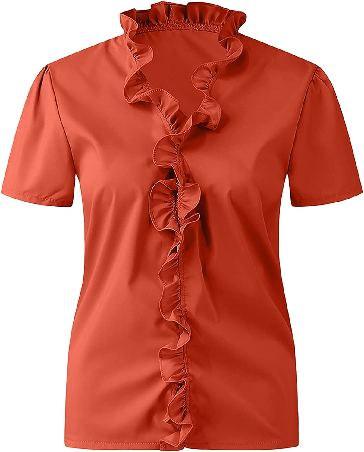 Women's Summer Dressy Top Ruffle Lace V Neck Short Sleeve and Long Sleeve Floral Print T Shirts Blouse
