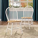 Better Homes and Gardens Autumn Lane Windsor Solid Wood Dining Chairs, White and Oak (Set of 4)