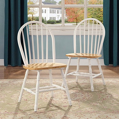 Better Homes and Gardens Autumn Lane Windsor Chairs, Set of 2, White and Natural