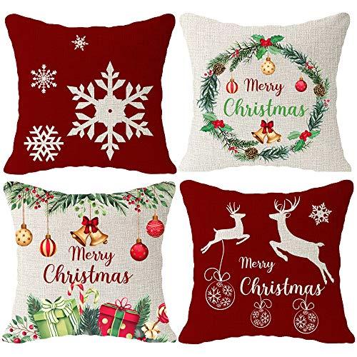 Hysunland Set mit 4 dekorativen Kissenbezügen mit Weihnachtsmotiven und Hirschglocken, für Wohnzimmer, Outdoor, quadratisch, 45,7 x 45,7 cm