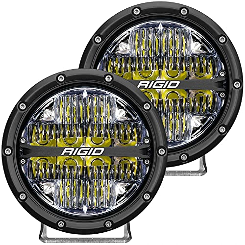 Rigid Industries 36204 360-Series LED Off-Road Light 6 in Drive Beam for Moderate Speed 20-50 MPH Plus White Backlight Pair