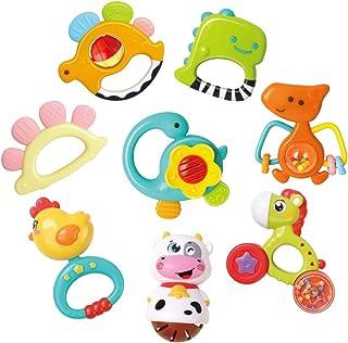 REMOKING Baby Rattle Teether Set,8 Pcs Dinosaur Rattle Toy Set,Early Educational Toys,Sensory Toys,Great Teething Gift Set...
