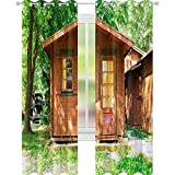 YUAZHOQI cortina opaca de madera bungalows en camping camping cortinas personalizadas 132 x 160 cm