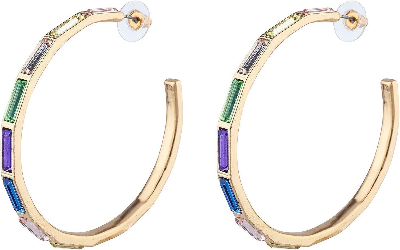 Nicole Miller New York Baguette Hoop Earrings Pastel Multi