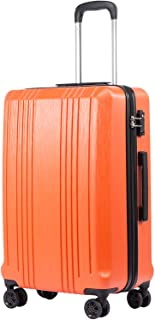 Coolife Luggage Suitcase PC+ABS with TSA Lock Spinner Carry on Hardshell Lightweight 20in 24in 28in(orange, S(20in_carry on))