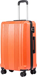 Luggage Suitcase PC+ABS with TSA Lock Spinner Carry on Hardshell Lightweight 20in 24in 28in(orange, S(20in_carry on))