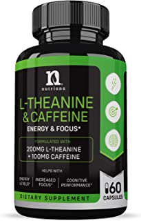 Best L-Theanine 200mg Supplement - Caffeine and L Theanine for Focus, Alertness & Anxiety - Ltheanine Sunth...