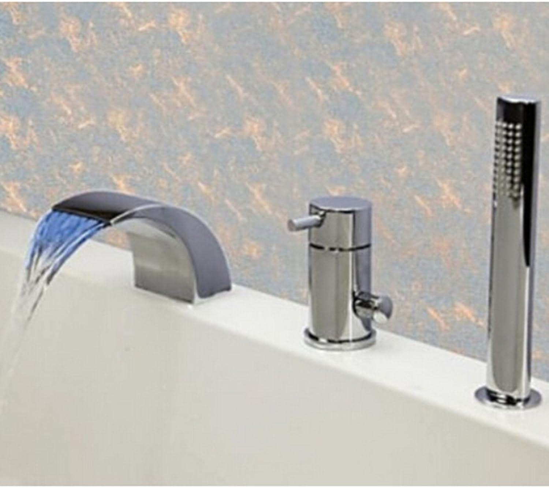 Tourmeler Bathroom Deck Mounted Polished Chrome Brass Led Bathtub Faucet 3 Pcs Mixer Tap,Clear